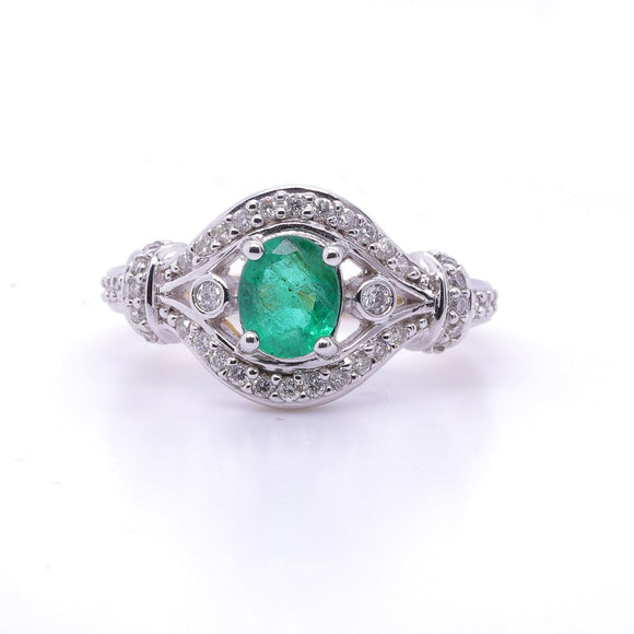9c Yellow and White Gold Natural Emerald ring with Diamonds 40=.21 s13 jk