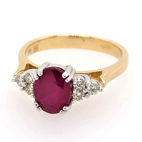 9ct Yellow And White Gold Ring Natural Ruby and Diamonds