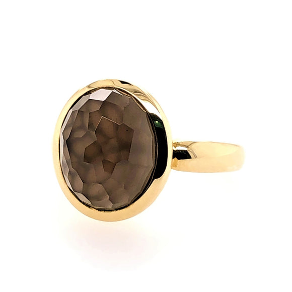 9ct Yellow Gold Rose Cut Smokey Quartz Ring