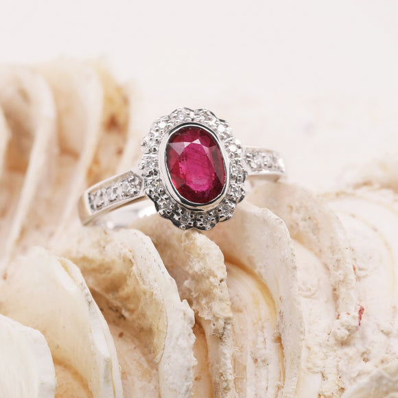 9ct White Gold Natural Ruby Cluster Ring Set With Diamond=.13Ct