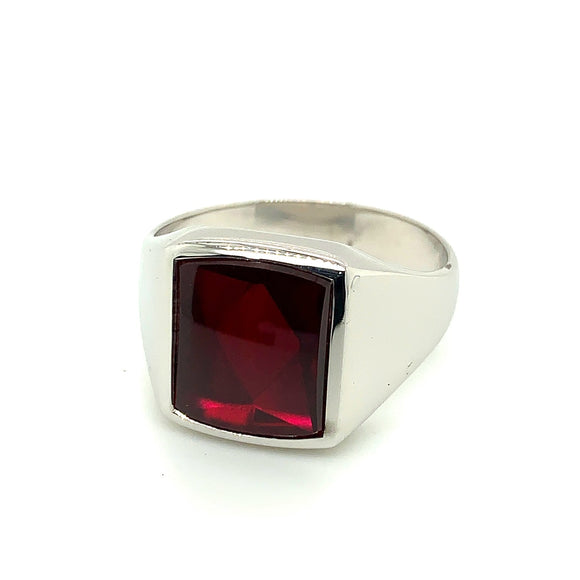 Sterling Silver Synthetic Garnet Ring