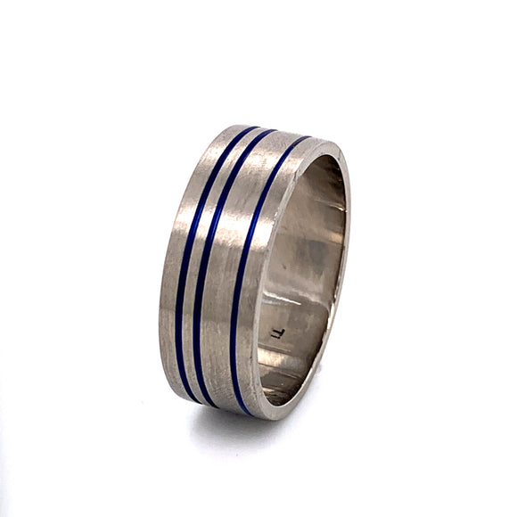 Titanium Ring 3 Blue Anodised channels