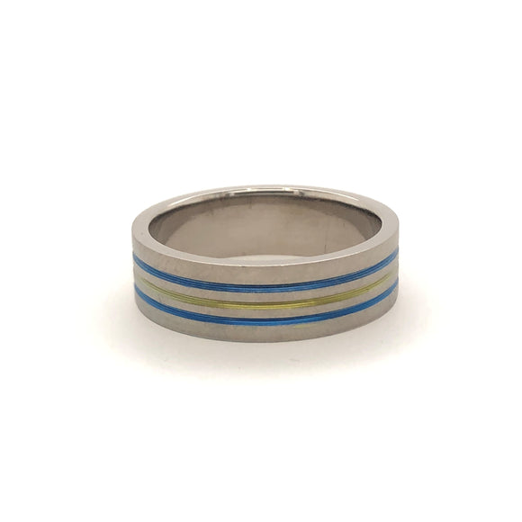 Titanium 3 Stripe Blue Yellow Blue