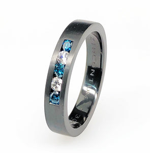 Zirconium Blue And White Diamonds