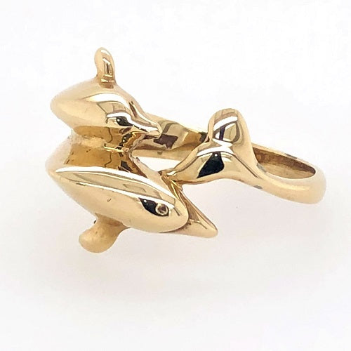 9ct Yellow Gold Dolphin Ring