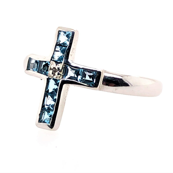 9ct White Gold Topaz and Diamond Cross Ring