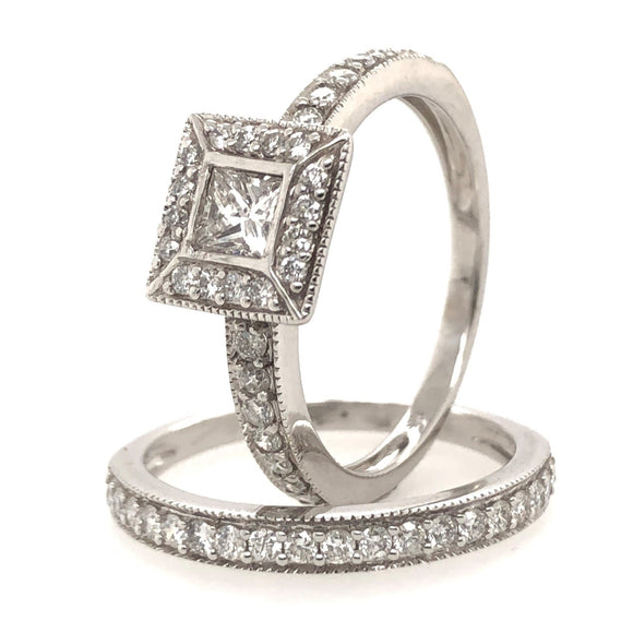 9ct White Gold Princess Cut Bridal Set