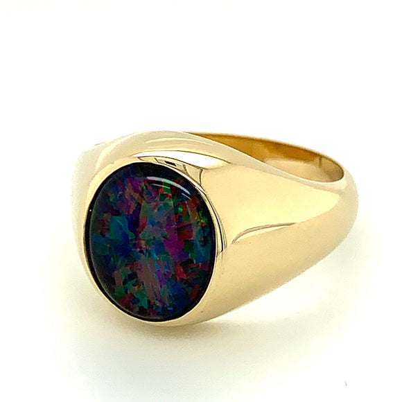 9ct Yellow Gold 12x10mm Triplet Opal Ring