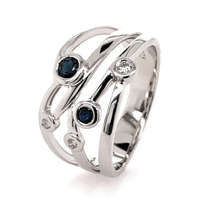 9ct White Gold Natural Sapphires and Diamond Ring