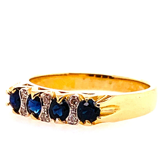 9ct Yellow Gold 4 Sapphires and 6 Diamonds Ring