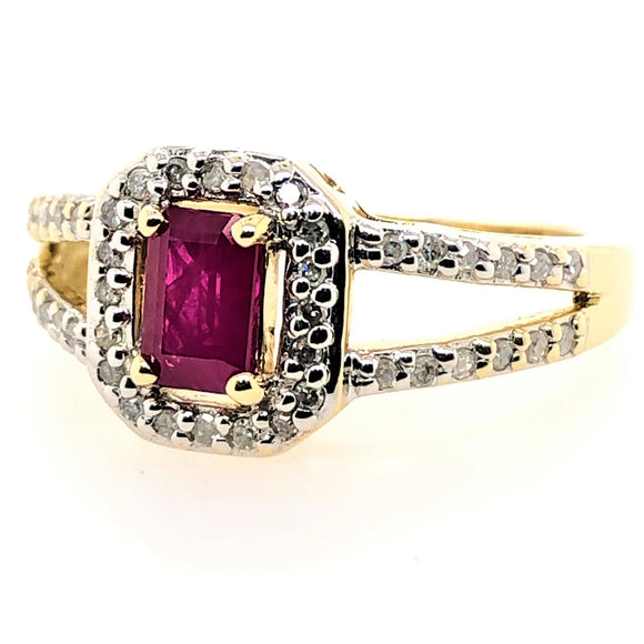 9Ct Natural Ruby and Diamond Split Band Ring