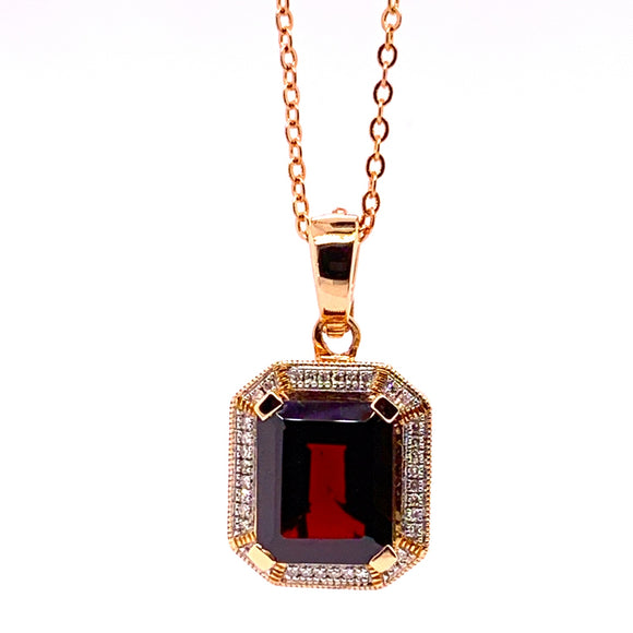 9ct Rose Gold Natural Garnet (12x10mm) and Diamonds Tdw.13