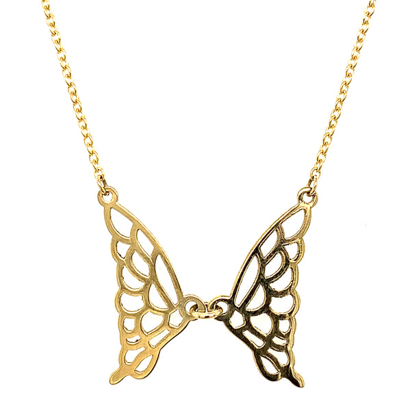 9ct Yellow Gold Butterly Wings. 9ct Gold Chain included
