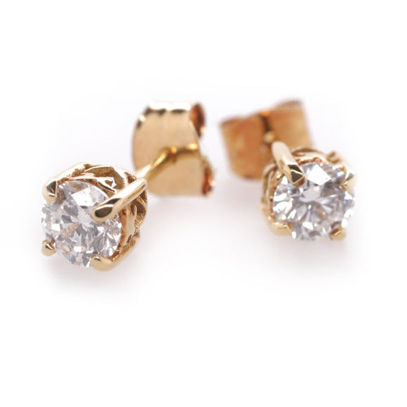 18ct Yellow Gold 4 ClawDiamond Stud Earings D Si TDW .50ct