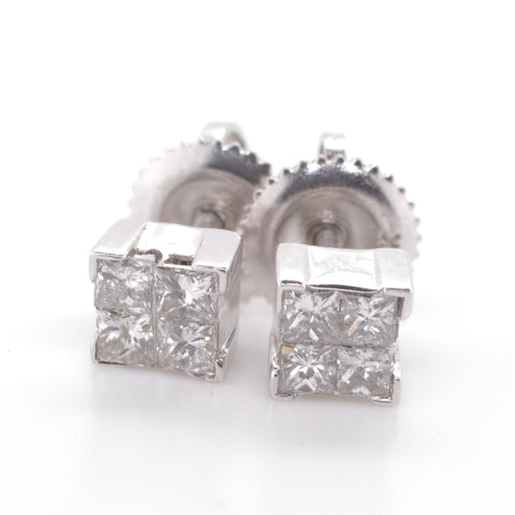 9ct White Gold Diamond Stud Earings 8=.33Ct