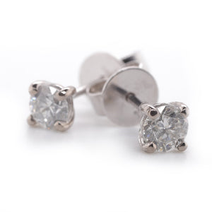 18ct White Gold Diamond Stud Earings 4 claw, 2=.50ct ESI2