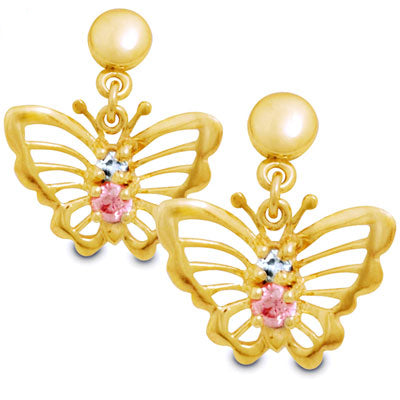 9ct Yellow Gold CZ Set ButterFly Earings