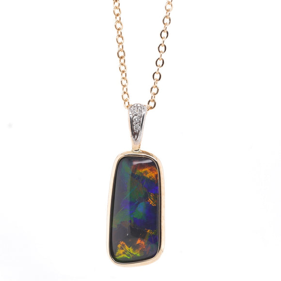 9ct Yellow Gold Freeform Trip Opal and Diamond Pendant