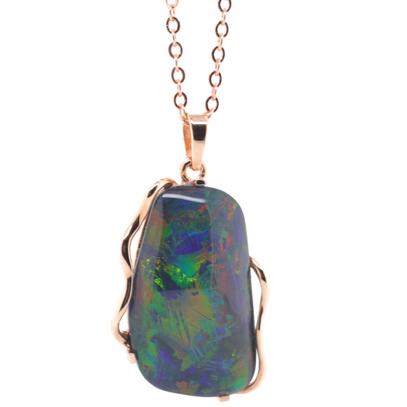 9ct Rose Gold Triplet Freeform Opal Pendant