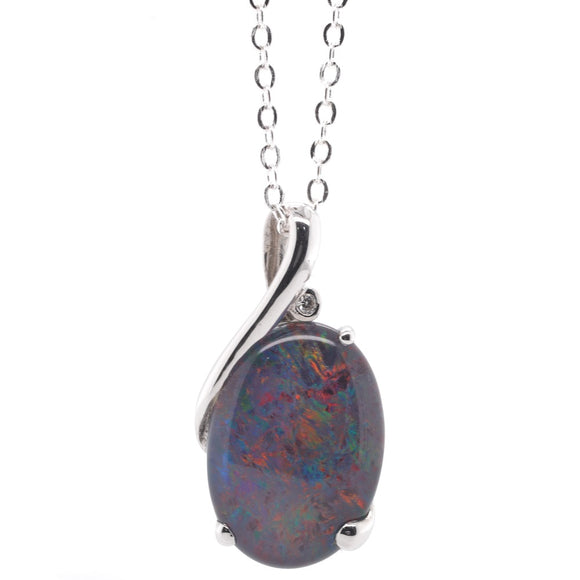 9Ct White Gold Triplet Opal And Diam Pendant Tdw.03