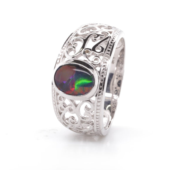 9Ct White Gold Filigree Style Opal Triplet Ring