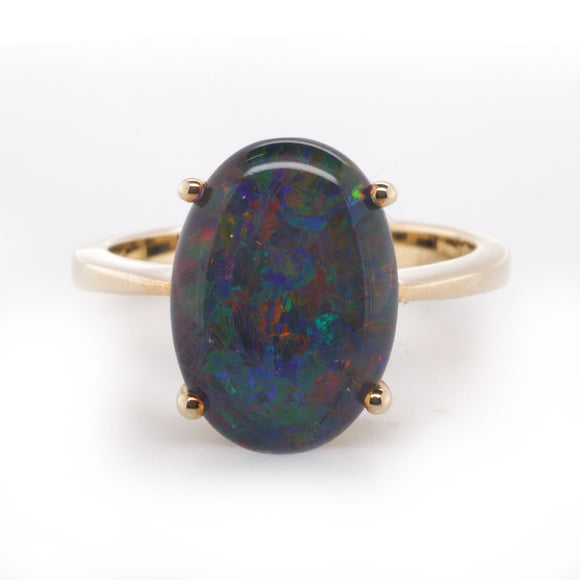 9Ct Yellow Gold Opal Triplet Ring 14X10