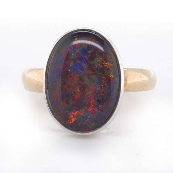 9Ct Yellow Gold 14X10 Opal Triplet Ring