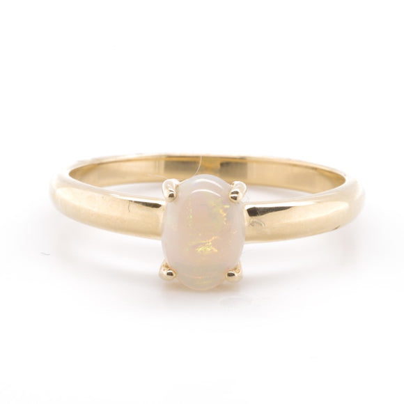 9Ct Yellow Gold Solid White Opal Ring 7X5