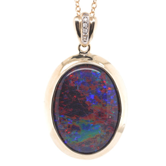 9Ct Yellow Gold Opal Triplet Pendant Set With Diamonds 25X18