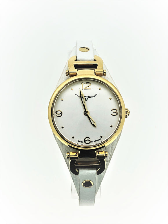 R.M William Ladies White Strap Gold W/R
