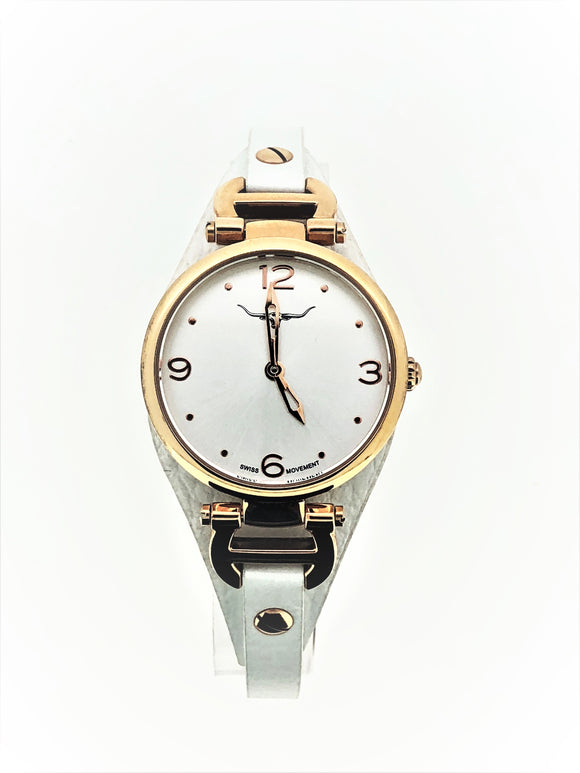 R.M William Ladies Rose Gold White Strap W/R