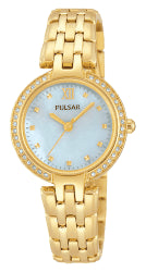Pulsar Gold Plated Mother Of Pearl Dial Swarovski Crystal Water Resistant
