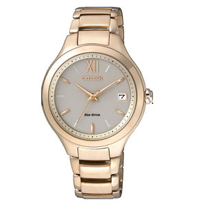 Citizen Ladies Eco-Drive Rose Gold Plate 100M W/R