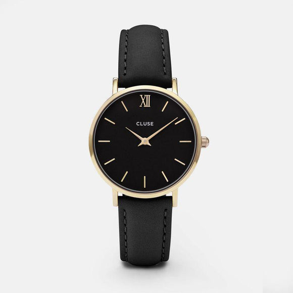Cluse Miniut Gold Black Black Leather