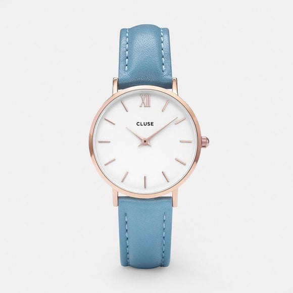Miniut Rose White Blue Leather
