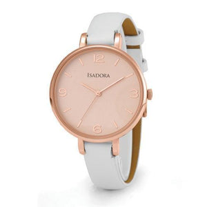 Isadora Coin rose Gold Plated White Leather Strap