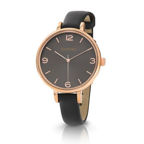Isadora Coin Rose Gold Plated Leather Strap W/R