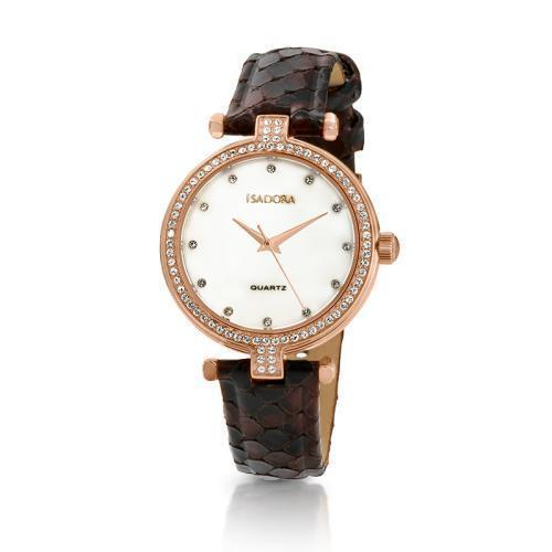 Isadora Petra Rose Gold Plated Crystal White Mother of Pearl Dial Brown Strap