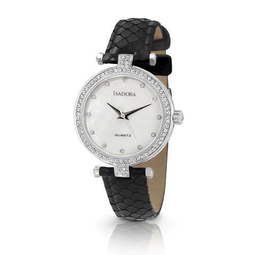 Isadora Petra Crystal White Mother of Pearl Dial Black Strap