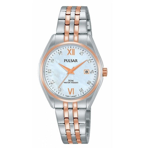 Pulsar Ladies 50M Mother Of Pear Dial Swarovski Crystals Rose Gold Plated
