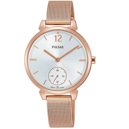 Pulsar Ladies Rose Gold Plated Stainless Steel Dress
