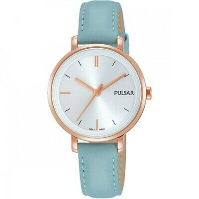 Pulsar Ladies Rose Gold Plated Pale Blue Leather Band Water Resistant