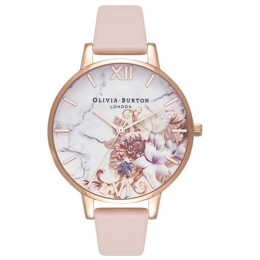 Olivia Burton Floral Rose Gold Colour Case nude strap