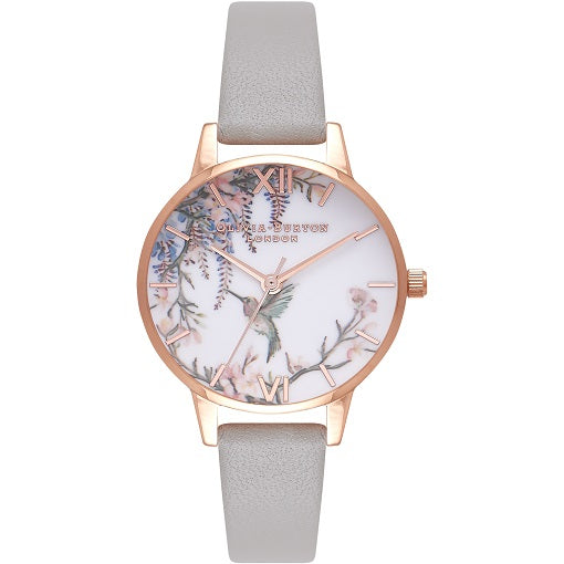 Olivia Burton Paintlerly Rose Gold Coloured Cas Grey Strap
