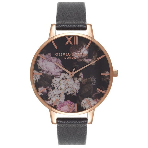 Olivia Burton Winter Garden Rose Gold Case Black Strap