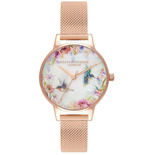 Olivia Burton Painterly Rose Gold Coloured Case Ana Strap
