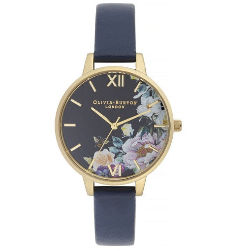 Olivia Burton Enchanted Garden Gold Coloured Case Navy Strap