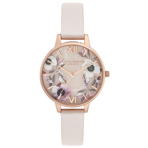 Olivia Burton Semi Precious Rose Gold Coloured Case Pink Strap