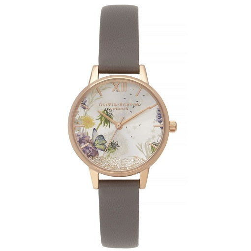 Olivia Burton Wishing Rose Gold Coloured Case Grey Strap