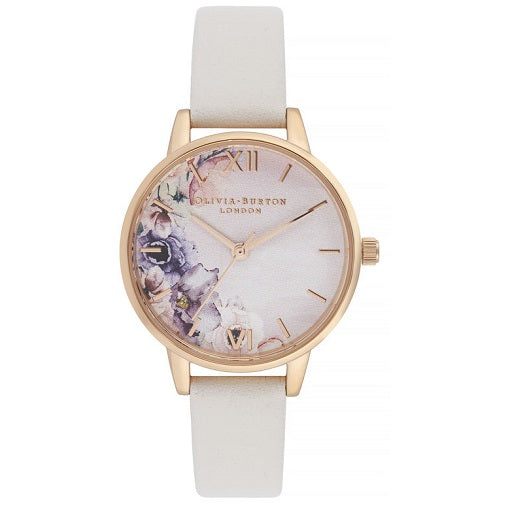 Olivia Burton Floral Rose Gold Coloured Case Grey Strap